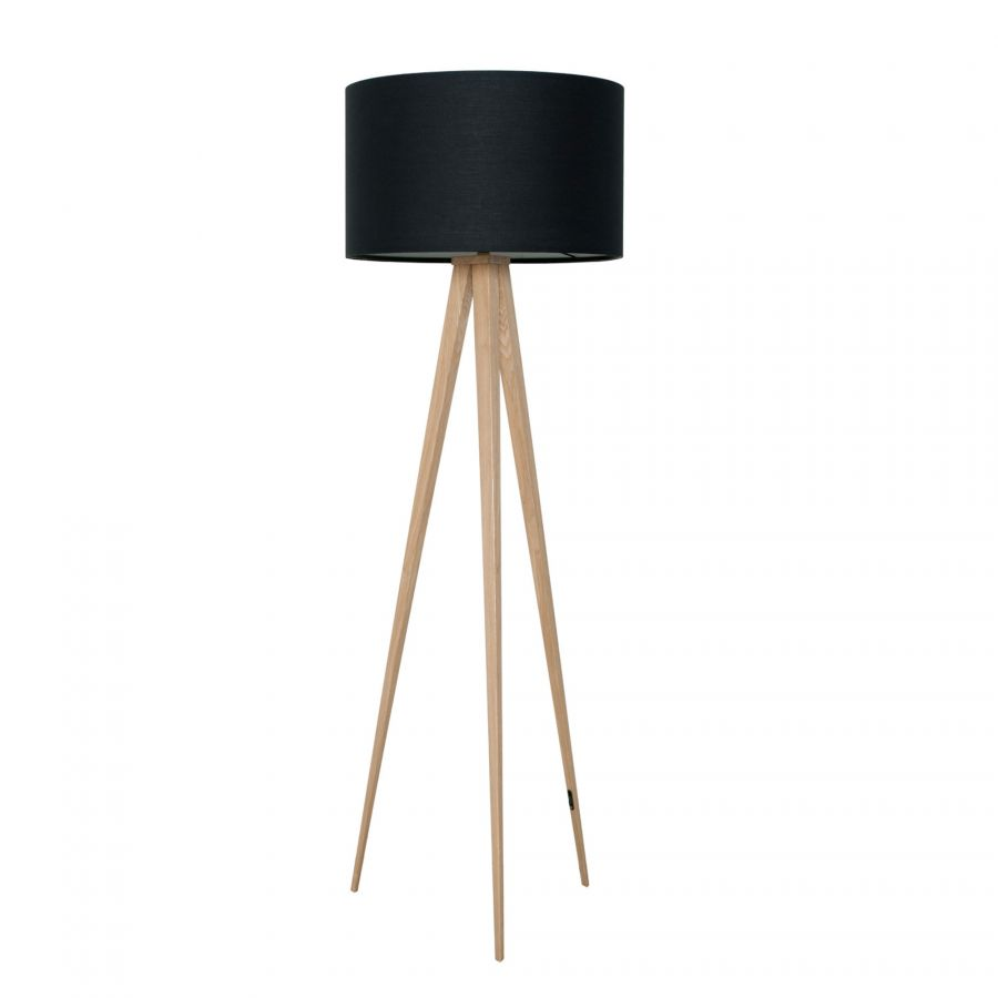 Tripod wood vloerlamp