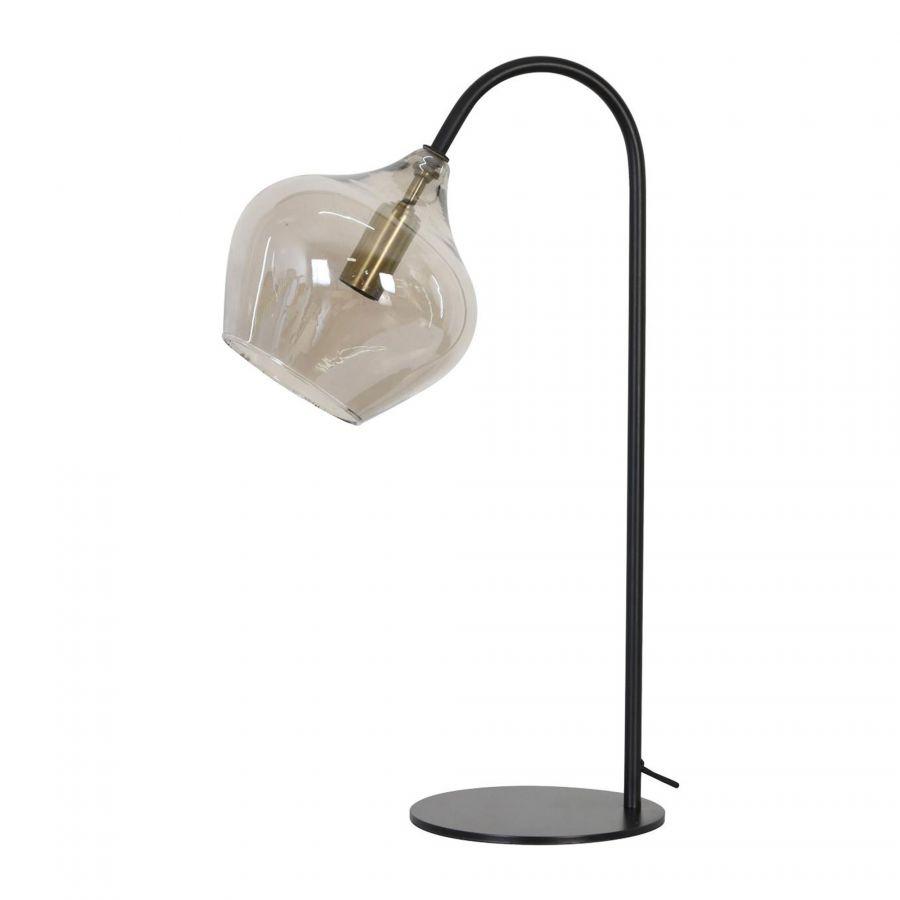 Tafellamp Rolf mat zwart+smoke