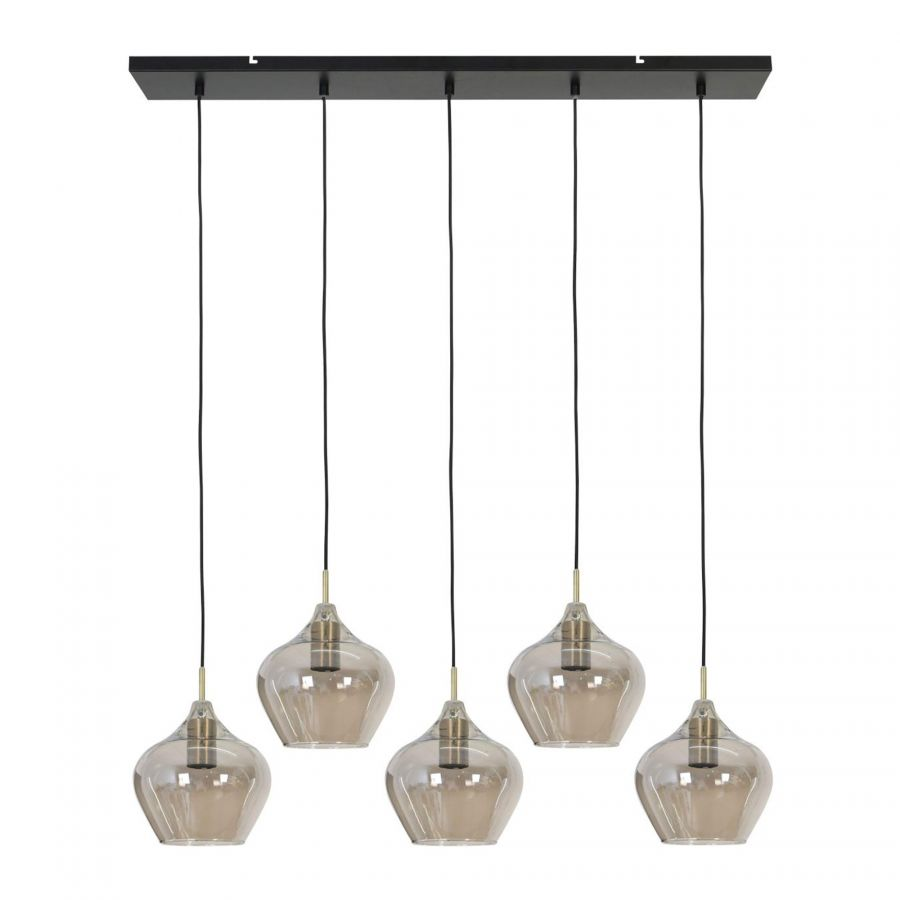 Hanglamp Rolf 5-lichts rond Brons