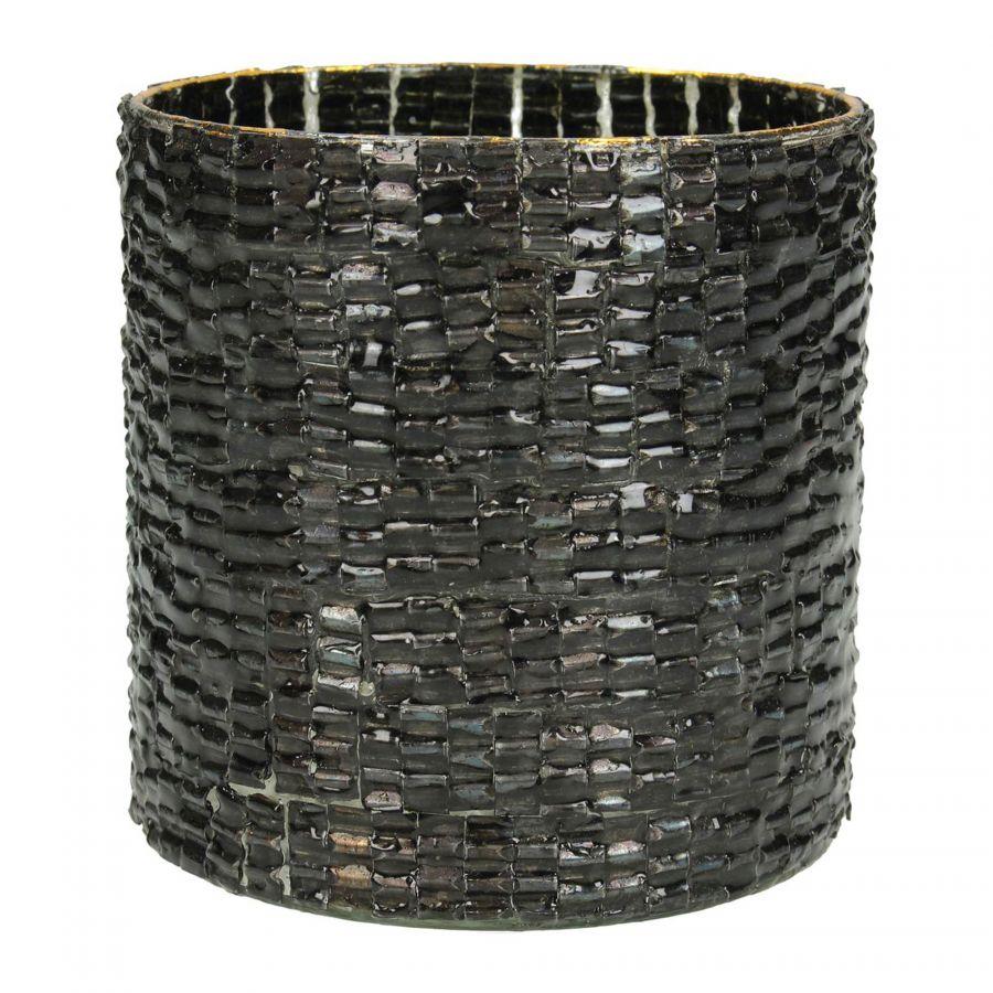 Waxinehouder Zwart Glas