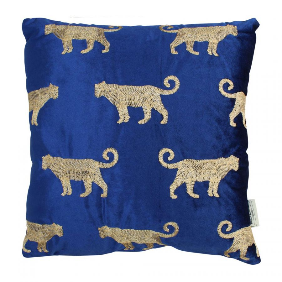 Kussen Luipaard Blauw